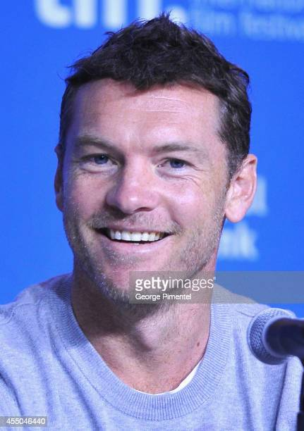 Actor Sam Worthington speaks onstage at 'Cake' Press Conference during the 2014 Toronto International Film Festival at TIFF Bell Lightbox on...