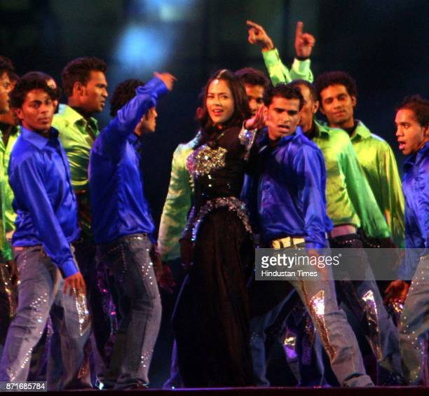 Actor Samira Reddy performs during the inaugural function of the 34th National Games at Birsa Munda Athletic stadium in Ranchi