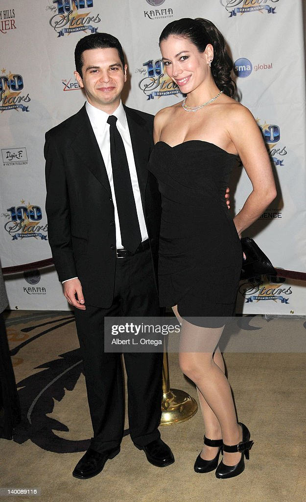 Actor <a gi-track='captionPersonalityLinkClicked' href=/galleries/search?phrase=Samm+Levine+-+Actor&family=editorial&specificpeople=598971 ng-click='$event.stopPropagation()'>Samm Levine</a> and actress Eve Fizzinoglia arrive for Norby Walters' 22nd Annual Night Of 100 Stars Oscar Viewing Gala held at The Beverly Hills Hotel on February 26, 2012 in Beverly Hills, California.