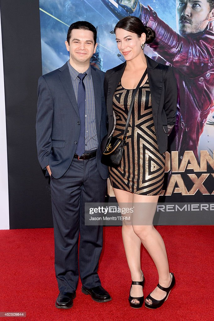 Actor Samm Levine (L) and guest attend the premiere of Marvel's 'Guardians Of The Galaxy' at the Dolby Theatre on July 21, 2014 in Hollywood, California.