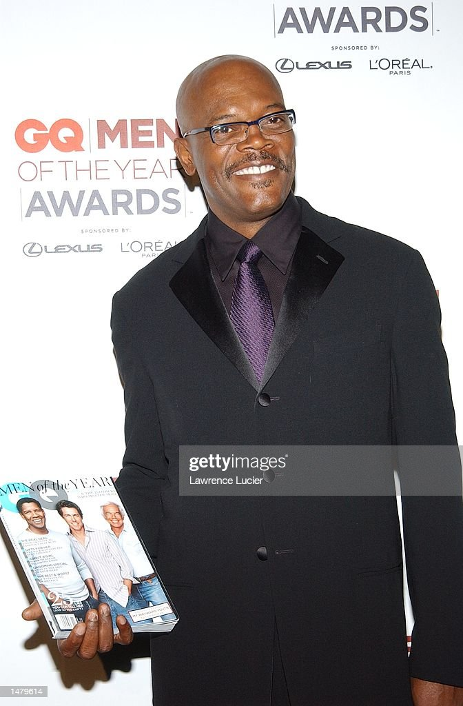 Actor Samuel Jackson poses backstage at the 2002 GQ Men of the Year Awards October 16, 2002 at the Manhattan Center in New York City, New York.
