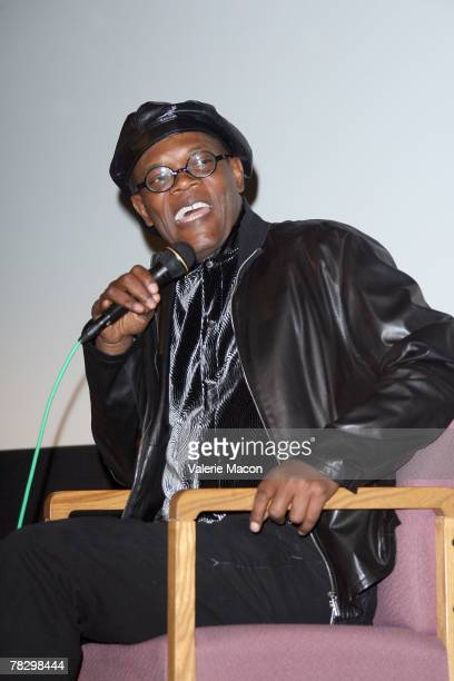 Actor Samuel Jackson speaks between the screenings of 'Resurrecting the Champ' and 'Black Snake Moan' on December 6 2007 at the Aero Theatre in Santa...