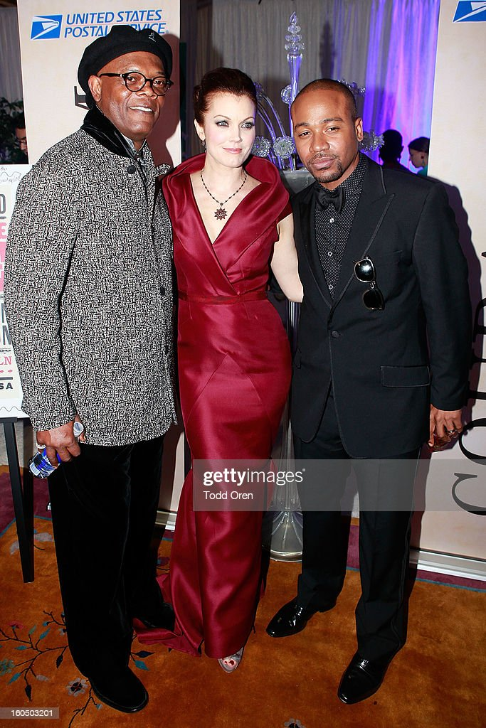 Actor Samuel L. Jackson, actress Bellamy Young and Columbus Short previews the Rosa Parks Forever Stamp in the U.S. Postal Service Civil Rights Stamp Gallery backstage at the NAACP Image Awards on February 1, 2013 at The Shrine Auditorium.