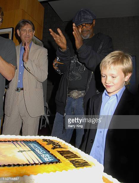 Actor Samuel L Jackson and actor Dakota Goyo attends the 'Resurrecting the Champ' after party held at the Academy of Motion Picture Arts and Sciences...