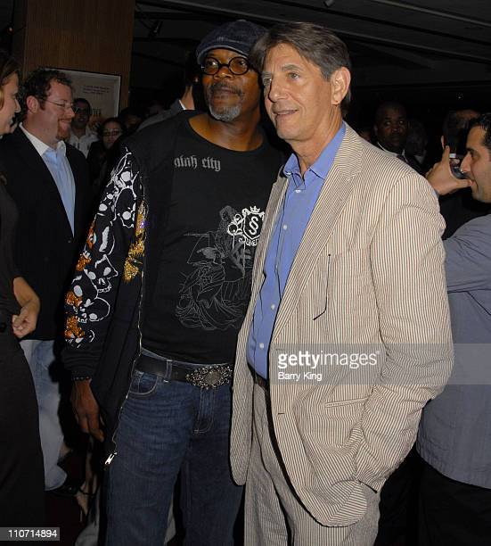 Actor Samuel L Jackson and actor Peter Coyote attend the 'Resurrecting the Champ' after party held at the Academy of Motion Picture Arts and Sciences...