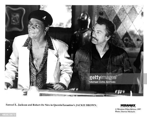 Actor Samuel L Jackson and actor Robert De Niro in a scene from the Miramax movie 'Jackie Brown' circa 1997