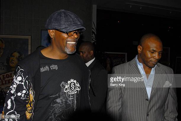 Actor Samuel L Jackson and Boxer Mike Tyson attends the 'Resurrecting the Champ' after party held at the Academy of Motion Picture Arts and Sciences...