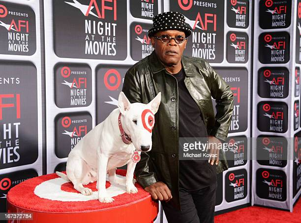 Actor Samuel L Jackson and Bullseye on the red carpet for Target Presents AFI's Night at the Movies at ArcLight Cinemas on April 24 2013 in Hollywood...