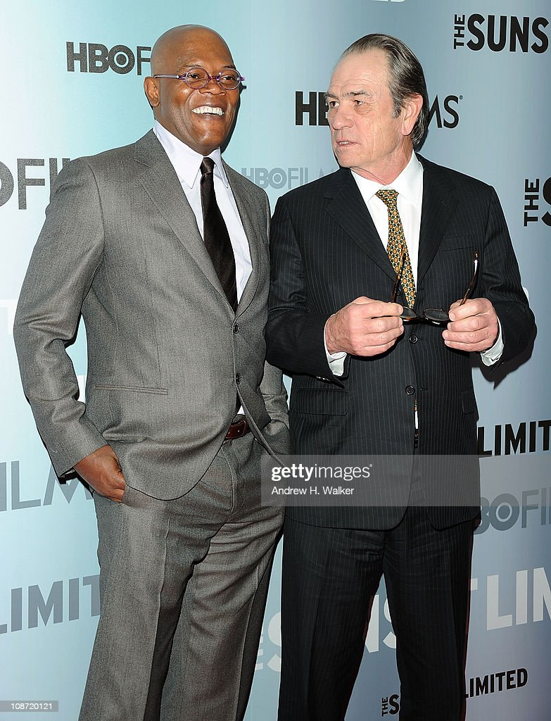 Actor Samuel L. Jackson and director, executive producer and actor Tommy Lee Jones attend the HBO Films & The Cinema Society screening of 'Sunset Limited' at the Time Warner Screening Room on February 1, 2011 in New York City.