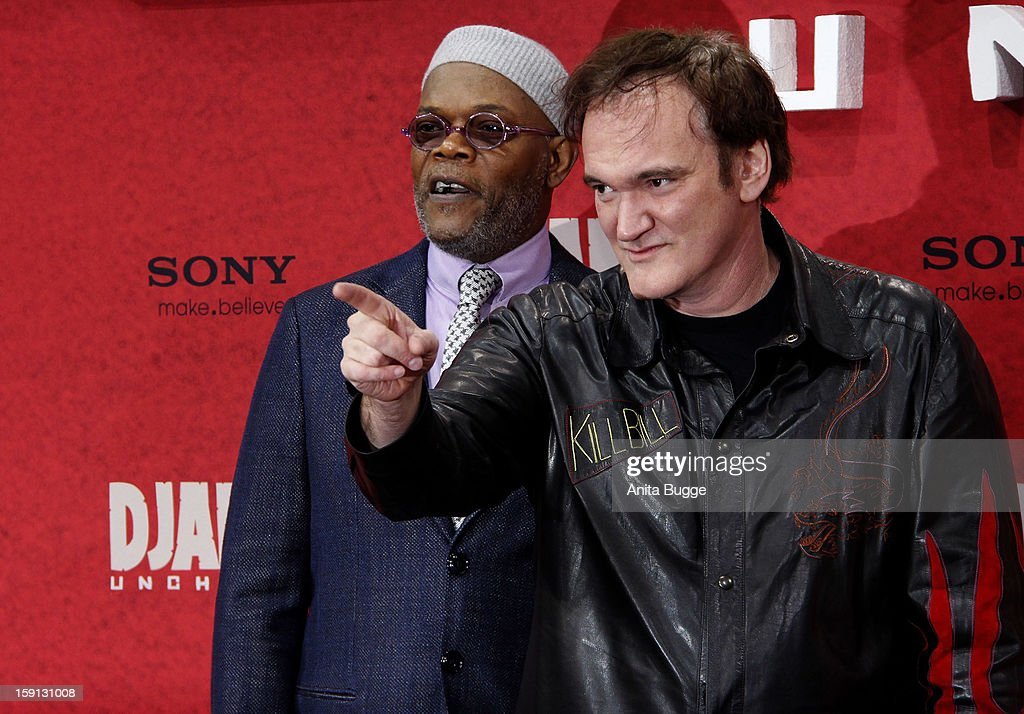 Actor <a gi-track='captionPersonalityLinkClicked' href=/galleries/search?phrase=Samuel+L.+Jackson&family=editorial&specificpeople=167234 ng-click='$event.stopPropagation()'>Samuel L. Jackson</a> and director <a gi-track='captionPersonalityLinkClicked' href=/galleries/search?phrase=Quentin+Tarantino&family=editorial&specificpeople=171796 ng-click='$event.stopPropagation()'>Quentin Tarantino</a> attend the 'Django Unchained' Berlin Premiere at Cinemaxx on January 8, 2013 in Berlin, Germany.