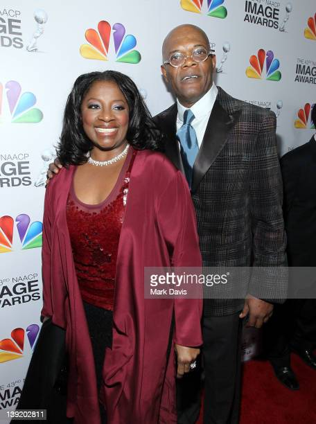 Actor Samuel L Jackson and LaTanya Richardson arrive at the 43rd NAACP Image Awards held at The Shrine Auditorium on February 17 2012 in Los Angeles...