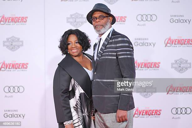 Actor Samuel L Jackson and wife LaTanya Richardson attends the premiere of Marvel's 'Avengers Age Of Ultron' at Dolby Theatre on April 13 2015 in...