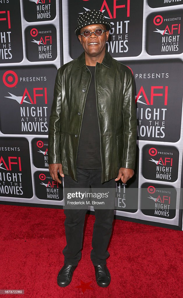 Actor <a gi-track='captionPersonalityLinkClicked' href=/galleries/search?phrase=Samuel+L.+Jackson&family=editorial&specificpeople=167234 ng-click='$event.stopPropagation()'>Samuel L. Jackson</a> arrives on the red carpet for Target Presents AFI's Night at the Movies at ArcLight Cinemas on April 24, 2013 in Hollywood, California.