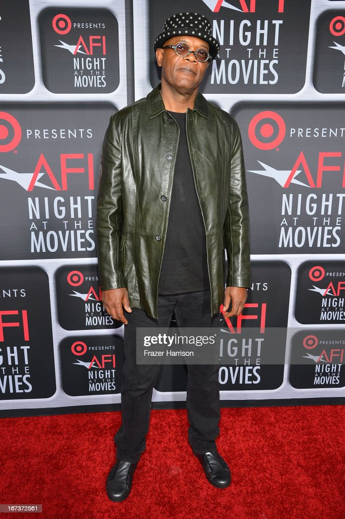 Actor Samuel L. Jackson arrives on the red carpet for Target Presents AFI's Night at the Movies at ArcLight Cinemas on April 24, 2013 in Hollywood, California.