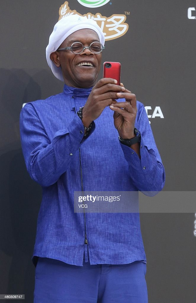 Actor <a gi-track='captionPersonalityLinkClicked' href=/galleries/search?phrase=Samuel+L.+Jackson&family=editorial&specificpeople=167234 ng-click='$event.stopPropagation()'>Samuel L. Jackson</a> attends 'Captain America: The Winter Soldier' premiere at Taikoo Li Sanlitun on March 24, 2014 in Beijing, China.