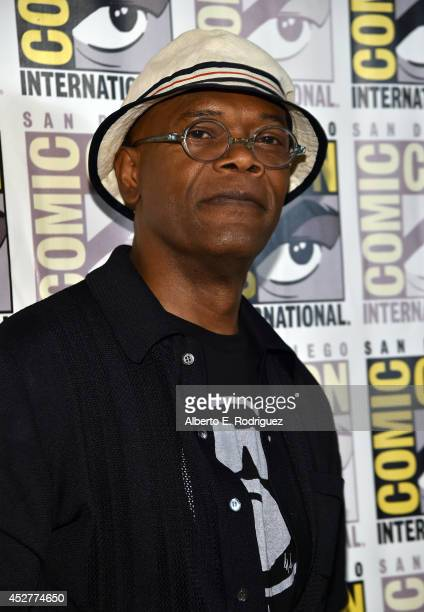 Actor Samuel L Jackson attends Marvel's Hall H Press Line for 'AntMan' and 'Avengers Age Of Ultron' during ComicCon International 2014 at San Diego...