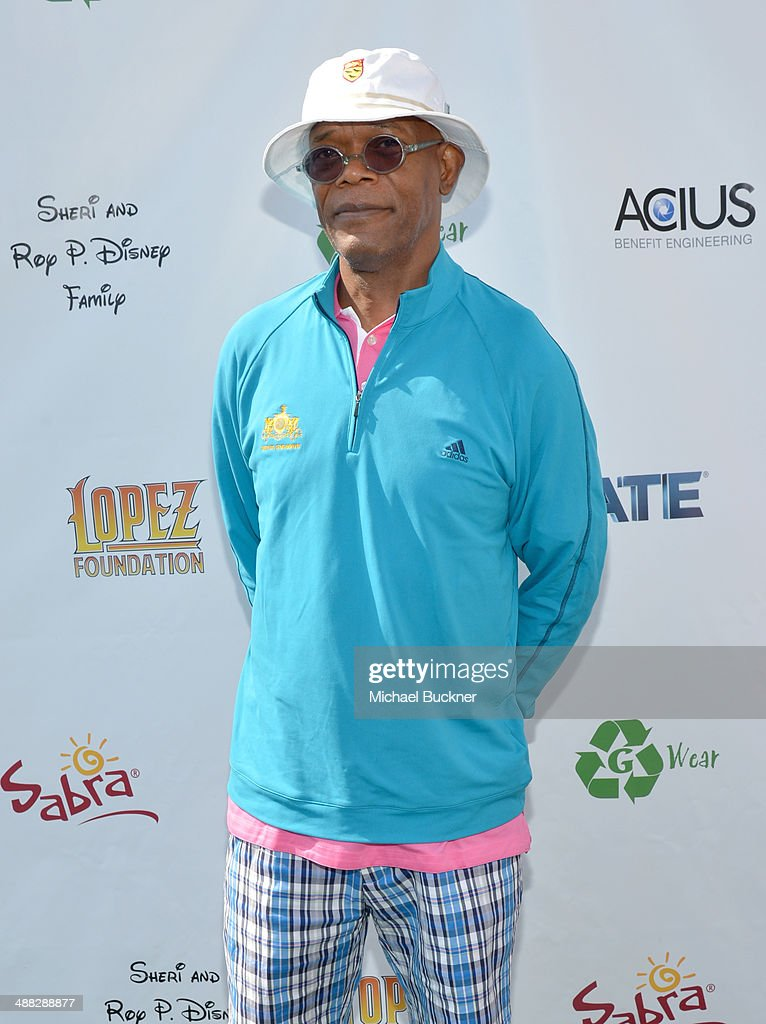 Actor <a gi-track='captionPersonalityLinkClicked' href=/galleries/search?phrase=Samuel+L.+Jackson&family=editorial&specificpeople=167234 ng-click='$event.stopPropagation()'>Samuel L. Jackson</a> attends the 7th annual George Lopez Celebrity Golf Classic presented by Sabra Salsa at Lakeside Golf Club on May 5, 2014 in Burbank, California.
