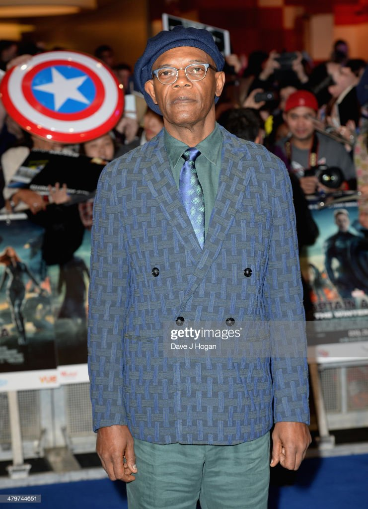 Actor Samuel L Jackson attends the 'Captain America: The Winter Soldier' UK film premiere at Westfield on March 20, 2014 in London, England.