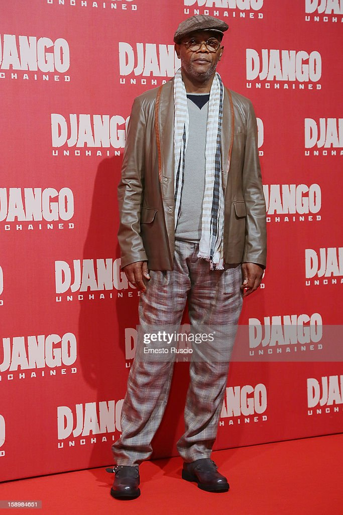 Actor Samuel L. Jackson attends the 'Django Unchained' premiere at Cinema Adriano on January 4, 2013 in Rome, Italy.