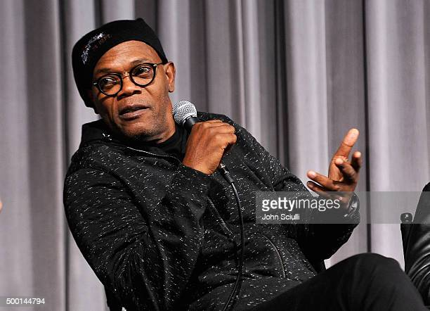 Actor Samuel L Jackson attends the Hateful Eight SAG Screening and QA at the Pacific Design Center on December 5 2015 in West Hollywood California