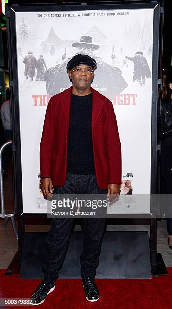 Actor Samuel L Jackson attends the premiere of The Weinstein Company's 'The Hateful Eight' at ArcLight Cinemas Cinerama Dome on December 7 2015 in...