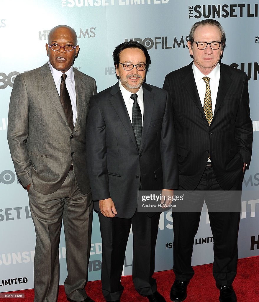 Actor Samuel L. Jackson, HBO Films president Len Amato, and director and actor Tommy Lee Jones attend the HBO Films & The Cinema Society screening of 'Sunset Limited' at the Time Warner Screening Room on February 1, 2011 in New York City.