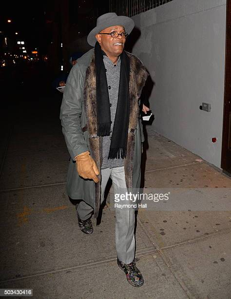 Actor Samuel L Jackson is seen arriving at 'TAO Downtown' on January 4 2016 in New York City