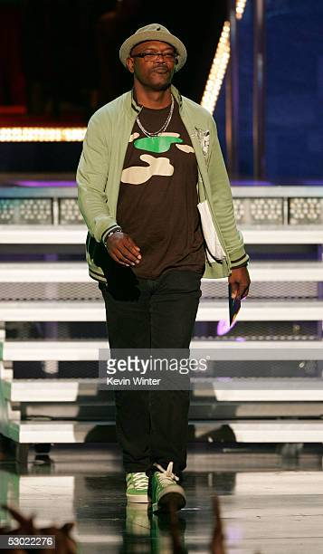 Actor Samuel L Jackson onstage during the 2005 MTV Movie Awards at the Shrine Auditorium on June 4 2005 in Los Angeles California The 14th annual...