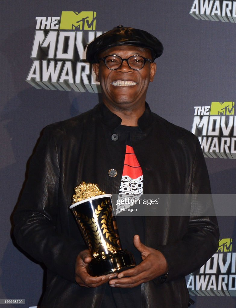 Actor Samuel L Jackson poses backstage during the 2013 MTV Movie Awards at Sony Pictures Studios on April 14, 2013 in Culver City, California.