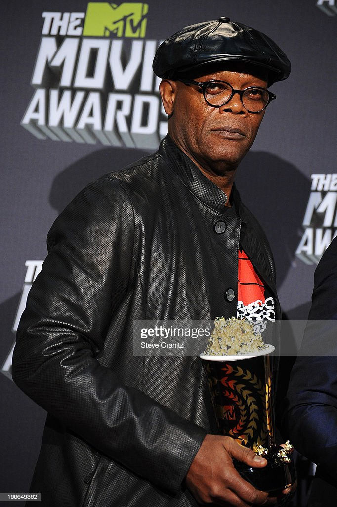 Actor <a gi-track='captionPersonalityLinkClicked' href=/galleries/search?phrase=Samuel+L.+Jackson&family=editorial&specificpeople=167234 ng-click='$event.stopPropagation()'>Samuel L. Jackson</a> poses in the press room during the 2013 MTV Movie Awards at Sony Pictures Studios on April 14, 2013 in Culver City, California.