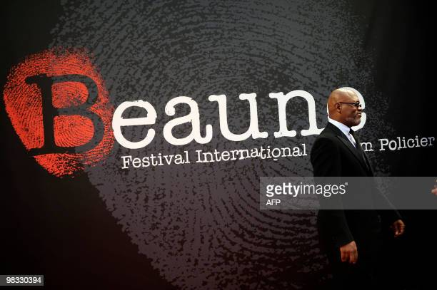 US actor Samuel L Jackson poses on April 8 2010 in Beaune as he arrives for the opening cerermony of the city's 2nd international thriller film...