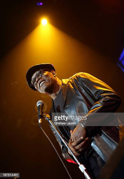 Actor Samuel L Jackson speaks on stage during the Second Annual Hilarity For Charity benefiting The Alzheimer's Association at the Avalon on April 25...