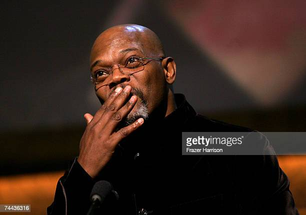 Actor Samuel L Jackson speaks onstage during the 35th AFI Life Achievement Award tribute to Al Pacino held at the Kodak Theatre on June 7 2007 in...