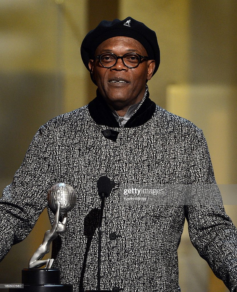 Actor Samuel L. Jackson speaks onstage during the 44th NAACP Image Awards at The Shrine Auditorium on February 1, 2013 in Los Angeles, California.