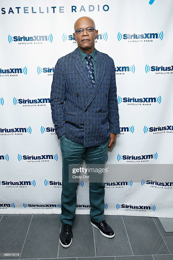 Actor <a gi-track='captionPersonalityLinkClicked' href=/galleries/search?phrase=Samuel+L.+Jackson&family=editorial&specificpeople=167234 ng-click='$event.stopPropagation()'>Samuel L. Jackson</a> takes part in a SiriusXM 'Town Hall' special with host Matt Bean, Editor of Entertainment Weekly, on SiriusXM's Entertainment Weekly Radio channel at the SiriusXM Studio on April 2, 2014 in New York City.