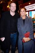 Actor Samuel Le Bihan and companion of Francois Xavier Demaison Emmanuelle attend the FrançoisXavier Demaison show 'Demaison S'Evade' Premiere at...
