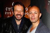 Actor Samuel Le Bihan and Director Julien Seri attend 'Night Fare' Paris Premiere at Drugstore Publicis Cinema on January 11 2016 in Paris France