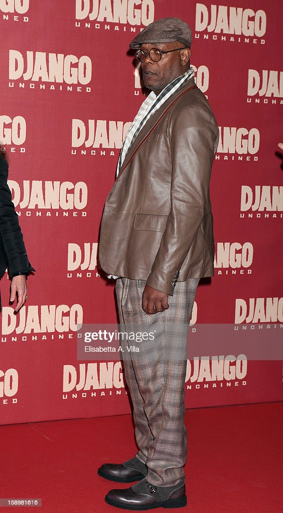 Actor Samuel Lee Jackson attends 'Django Unchained' premiere at Cinema Adriano on January 4, 2013 in Rome, Italy.