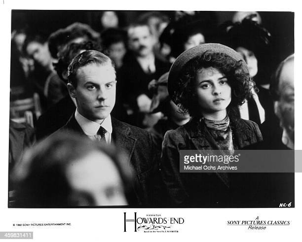 Actor Samuel West and actress Helena Bonham Carter on set of the movie 'Howards End ' circa 1992