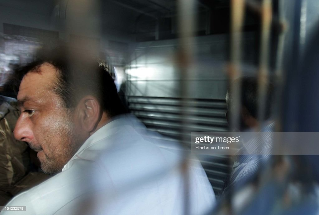 Actor Sanjay Dutt being taken to Yerawada jail from Arthur Road jail in the 1993 Mumbai blast case on August 3, 2007 in Mumbai, India. On March 21, 2013 after 20-year-long judicial proceedings in 1993 Mumbai Serial Bomb Blasts Case, Supreme Court upheld the death sentence of Yakub Abdul Razak Memon, a key conspirator with Dawood Ibrahim in the 1993 Mumbai serial blasts, and ordered that Bollywood actor Sanjay Dutt return to jail to serve three-and-a-half years sentence for possessing illegal arms. 257 people were killed in serial blasts in Mumbai on March 12, 1993.