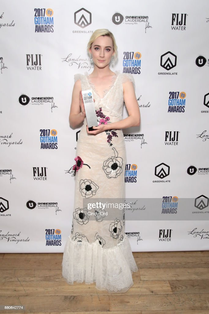 Actor Saoirse Ronan poses with her award backstage during IFP's 27th Annual Gotham Independent Film Awards on November 27, 2017 in New York City.