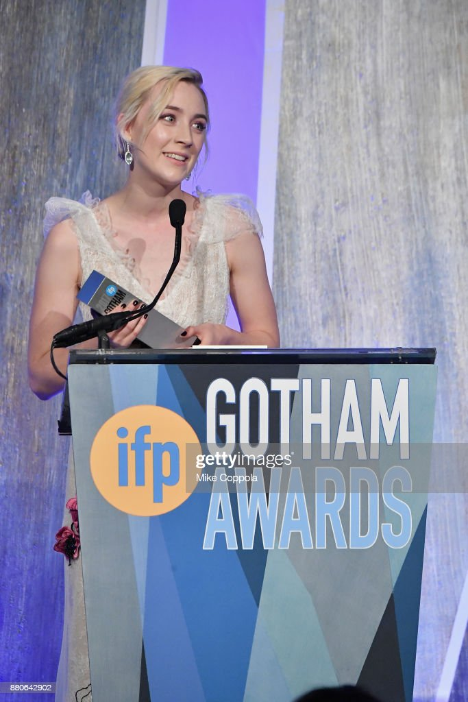 Actor Saoirse Ronan speaks onstage during IFP's 27th Annual Gotham Independent Film Awards on November 27, 2017 in New York City.