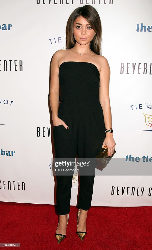 Actor Sarah Hyland arrives at 'Tie The Knot' Store Grand Opening with founder Jesse Tyler Ferguson at The Beverly Center on December 5, 2013 in Los Angeles, California.