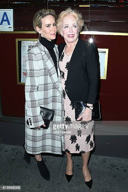 Actor Sarah Paulson and Holland Taylor attends the Opening of Broadway's AllStar 'The Front Page' at the Broadhurst Theatre on October 20 2016 in New...