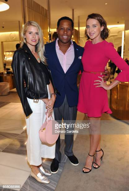 Actor Sarah Wright Olsen HOLA Chair Committee Tony Brown and Anna Schafer attend a Cocktail Event in support of HOLA Heart of Los Angeles hosted by...