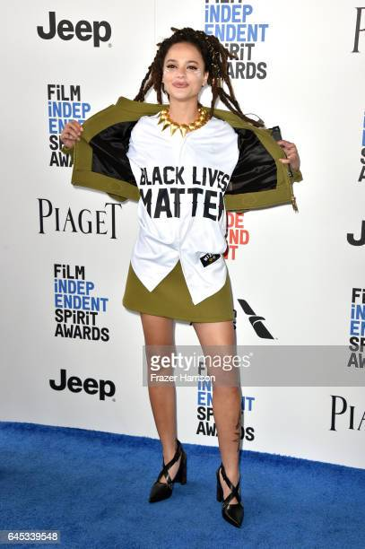 Actor Sasha Lane attends the 2017 Film Independent Spirit Awards at the Santa Monica Pier on February 25 2017 in Santa Monica California