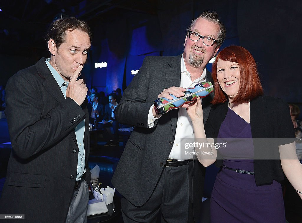Actor Scot Robinson, Chris Haston, and actress <a gi-track='captionPersonalityLinkClicked' href=/galleries/search?phrase=Kate+Flannery&family=editorial&specificpeople=580714 ng-click='$event.stopPropagation()'>Kate Flannery</a> attend the Tuberous Sclerosis Alliance Comedy For A Cure 2013 at Lure on April 7, 2013 in Hollywood, California.