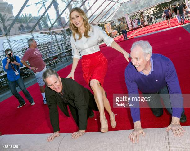 Actor Scott Bakula actress Sasha Alexander and SAG Awards Producer Daryl Anderson attend the 20th Annual Screen Actors Guild Awards BehindTheScenes...