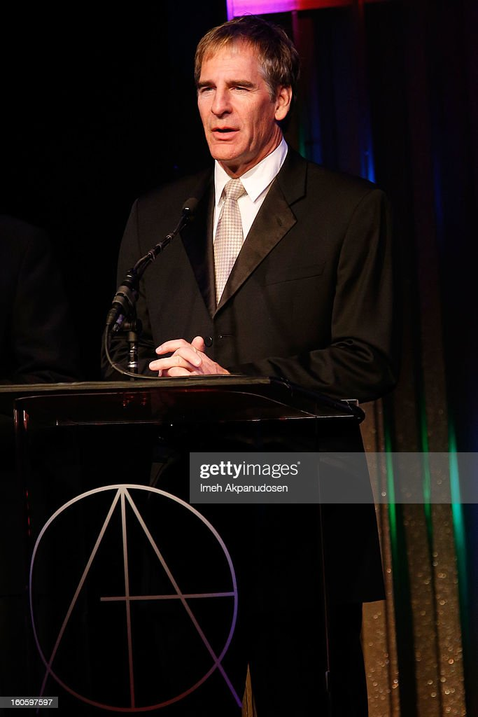Actor <a gi-track='captionPersonalityLinkClicked' href=/galleries/search?phrase=Scott+Bakula&family=editorial&specificpeople=217589 ng-click='$event.stopPropagation()'>Scott Bakula</a> speaks onstage at the 17th Annual Art Directors Guild Awards, held at The Beverly Hilton Hotel on February 2, 2013 in Beverly Hills, California.