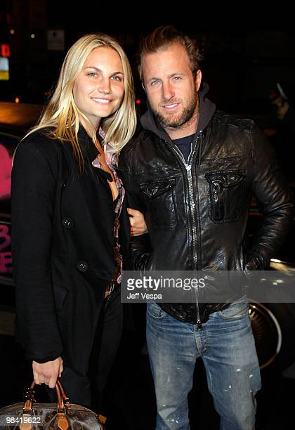 Actor Scott Caan and guest arrive at Banksy's 'Exit Through The Gift Shop' premiere at Los Angeles Theatre on April 12 2010 in Los Angeles California